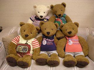 クマのルーニー 仲良くソファに座る5匹のルーニーたち